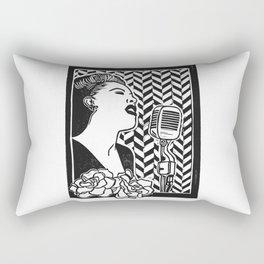 Lady Day (Billie Holiday block print blk) Rectangular Pillow
