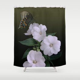 Sunpatiens and Swallowtail Butterfly Shower Curtain