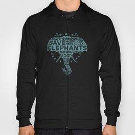 Save Elephants - Word Cloud Silhouette Hoody