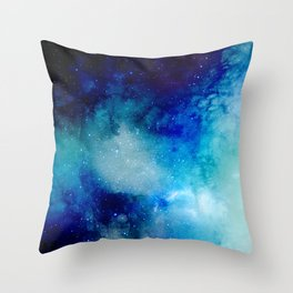 Blue Watercolor Space Pattern Throw Pillow