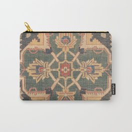 Geometric Leaves VI // 18th Century Distressed Red Blue Green Colorful Ornate Accent Rug Pattern Carry-All Pouch