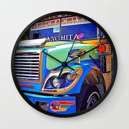 Guatemala - Chicken Bus Colors Wall Clock