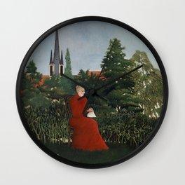 Fine french art, Portrait of a Woman in a Landscape by Henri Rousseau Wall Clock
