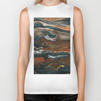 "geology Biker Tanks featuring ""stratify"" abstract watercolor and gouache painting by Carol Farnum Art"