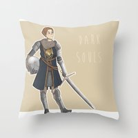dark souls Throw Pillows featuring Dark Souls- Daphne by mio-mio