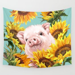 Baby Pig with Sunflowers in Blue Wall Tapestry