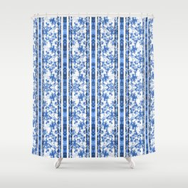 Chinoiserie Striped Floral Print Shower Curtain