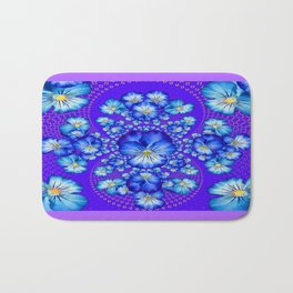 Blue-White Lace with  Purple Pansies Geometric Abstract Bath Mat