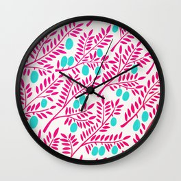 Olive Branches – Pink Ombré & Turquoise Wall Clock