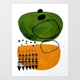 Modern Mid Century Fun Colorful Abstract Minimalist Painting Olive Green Yellow Ochre Buns Art Print