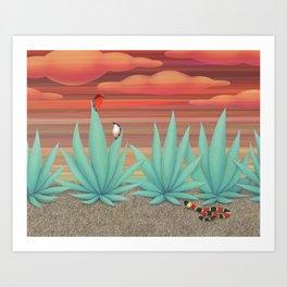 vermilion flycatchers, agave americana, & coral snake Art Print