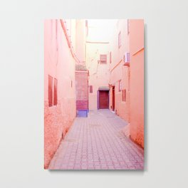 Colorful Pink Hued Street in Medina Marrakech Morocco Metal Print