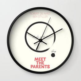 Meet the Parents, minimalist movie poster, Robert De Niro, Ben Stiller, american comedy, film Wall Clock