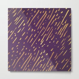 Dark Purple Gold Stripes Metal Print