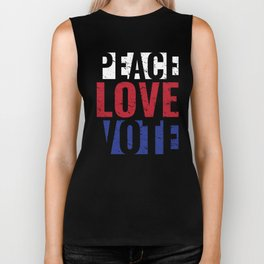 Peace Love Vote Gift Protest Vote for Midterm Elections Biker Tank