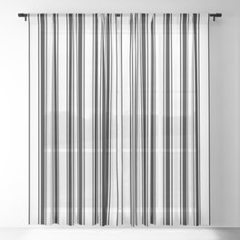 Black and white ticking stripes Sheer Curtain