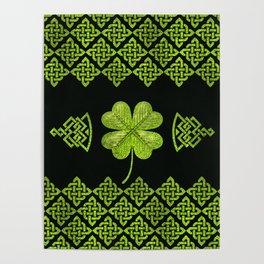 Irish Shamrock Four-leaf clover with celtic decor Poster