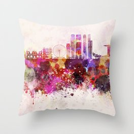 Singapore V2 skyline in watercolor background Throw Pillow
