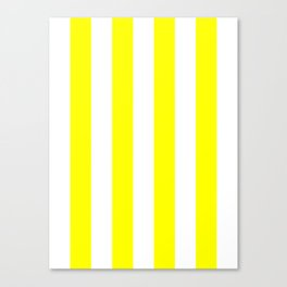 Vertical Stripes - White and Yellow Canvas Print