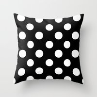 polka dots Throw Pillows featuring Polka Dots (White/Black) by 10813 Apparel