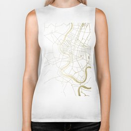 Bangkok Thailand Minimal Street Map - Gold Metallic and White II Biker Tank