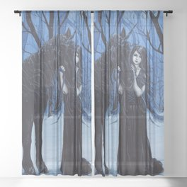 Midnight Travelers Gothic Fairy and Unicorn Sheer Curtain