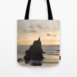 Arcadia Beach Sunset Lion Rock Oregon Coast Pacific Ocean Tote Bag