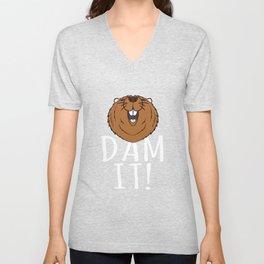 Beaver T Shirt - Funny Pun Dam It Unisex V-Neck