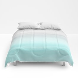 Touching Aqua Blue Gray Watercolor Abstract #1 #painting #decor #art #society6 Comforters