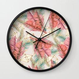 Pink tropical leaf pattern Wall Clock