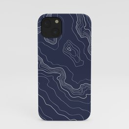 Navy topography map iPhone Case