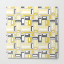 Simple Geometric Pattern in Yellow and Gray Metal Print