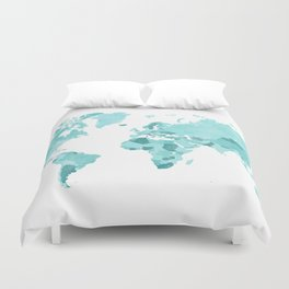 Distressed world map in aquamarine and teal Duvet Cover