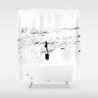 surfer Shower Curtains featuring Surfer  by Nilka Elis