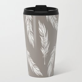 White Feather Pattern Travel Mug