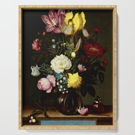 "Ambrosius Bosschaert the Elder ""Bouquet of Flowers in a Glass Vase"" Serving Tray"