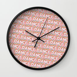 Dance Trendy Rainbow Text Pattern (Pink) Wall Clock