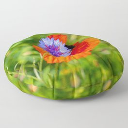 Cornflower kisses poppy Floor Pillow