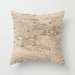 Vintage Pictorial Map of Oxford England (1850) Throw Pillow