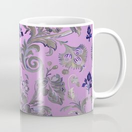 Painted Tibetan Brocade rose pink Coffee Mug