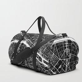 Black City Map of Paris, France Duffle Bag