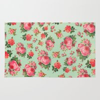 floral pattern Area & Throw Rugs featuring FLORAL PATTERN by Allyson Johnson