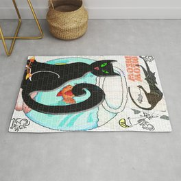 Meow Cat and Mouse Art Rug