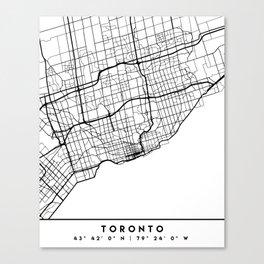 TORONTO CANADA BLACK CITY STREET MAP ART Canvas Print