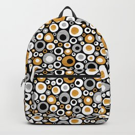 Mid Century Modern Circles in Black, White, Gold and Silver Backpack