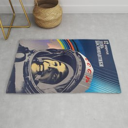 SOVIET PROPAGANDA POSTER 12 APRIL COSMONAUT DAY Rug