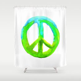 Watercolor Tie Dye Peace Sign Turquoise Lime on White Shower Curtain
