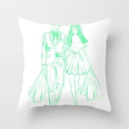 Abstract Couple Shopping Throw Pillow