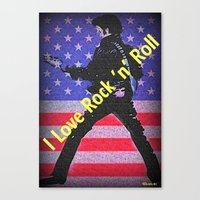 rock n roll Canvas Prints featuring Love Rock n Roll by elkart51