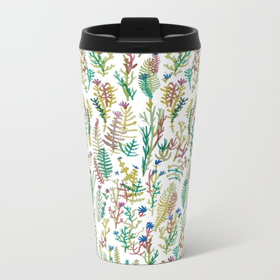 White garden Metal Travel Mug